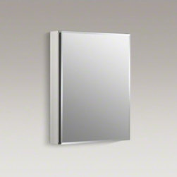 "KOHLER - KOHLER 20"" W x 26"" H aluminum single-door medicine cabinet with mirrored door, b - This clean modern medicine cabinet features a mirrored door with a simple beveled edge detail."