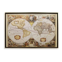 Star Creations, Inc. - Large Old World Map Wall Art - Hang this vintage map anywhere in your home or office for a classic, old-world feeling. Image is on deco board with black frame, gold trim and no glass.