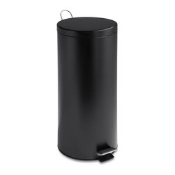 Honey Can Do - 30 Liter Round Black Matte Can With Bucket - Includes liner bucket with handle. Carrying handle. Easily wiped clean. 30L capacity. Stainless steel construction