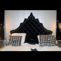 Inventory - Our Royale tufted bed features an elegant silhouette headboard that is masterfully created and upholstered in gorgeous black velvet. Then, we trim it with shiny chrome nailheads, tuft it with velvet buttons and combine it with a matching platform. As with many of our items, it can be customized to make it truly unique and yours alone! BLACK CKNG