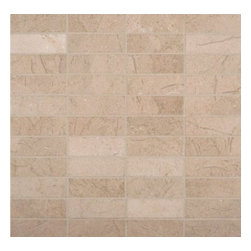 MS International - Crema Marfil 1 in. x 3 in. Mosaic Polished Marble Floor & Wall Tile-50 Sheets - M. S. International Crema Marfil 1 in. x 3 in. Polished Mesh-mounted Mosaic is a classic beige Natural Stone Marble with occassional subtle veining. With a large selection of sizes and accessories to choose from, this tile can easily be laid in a pattern or single layout and is suitable for residential and commercial installations, including kitchens and bathroom.