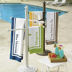 Cast-Aluminum Towel Stand - If you and your family are in and out of the pool all summer this is a great pool-side accessory. This towel stand is made of cast aluminum and comes in 2 different finishes to match your pool decor. What I really like about it is that it's weighted so won't blow over in the wind. Finally, towels can dry out. It's much better getting out of the pool when you have a nice, sun dried towel.