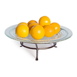 Danya B. - Round Textured Glass Plate on Iron Raised Stand - Elevate the elegance of your decor with this round tray displaying fruits or other nibbles you want to have at hand. Crafted from recycled glass, the plate is easily removed for cleaning and is dishwasher safe. The raised iron stand brings height to your table or buffet for a pleasing presentation.
