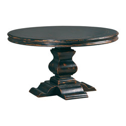 "Ambella Home - Aspen Round Dining Table, 48"" - Antique Ebony - The Aspen round dining table is carved from solid hardwood with an oak veneer top in an antique ebony finish.   Imported."