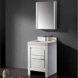 """Madeli - Madeli Vicenza 24"""" Bathroom Vanity with Quartzstone Top - Glossy White - Madeli brings together a team with 25 years of combined experience, the newest production technologies, and reliable availability of it's products. Featuring sleek sophisticated lines Madeli vanities are also created with contemporary finishes and materials. Some vanities also feature Blum soft-close hardware. Madeli also includes a Limited 1 Year Warranty on Glass Vessels, Basin, and Counter Tops. Features Base vanity with two soft-close drawers Glossy White finish Polished Chrome handle and leg finish 3""""H Quartzstone Countertops come in White or Soft Grey finish Quartzstone Countertops come with single faucet or 8"""" widespread faucet holes Ceramic undermount sink with overflow Faucet and drain are not included Backsplash included Matching mirror and medicine cabinet available Limited 1 Year Warranty on Glass Vessels, Basin, and Counter Tops How to handle your counter Spec Sheet Installation Instructions"""