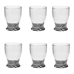 Frontgate - Set of Six Zebra Impressions Double Old Fashion - Crystal clear acrylic is BPA-free. Lightweight and durable. Shatter-resistant. Each comes as a set of six. Double Old Fashioned holds 14 oz.. Add an exotic touch to your tabletop with our Zebra Impressions Acrylic Drinkware. Made of crystal clear acrylic, these lightweight and durable glasses are BPA-free and shatter-resistant, making them perfect for indoor or outdoor use. .  .  .  . . Hand wash; dry with soft cloth .