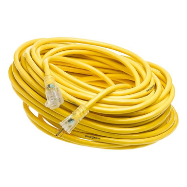 Coleman Cable - 100' Yellow Jacket Lighted End Extension Cord - 12/3 100' SJTW YELLOW JACKET ExTENSION CORD w/ LIGHTED END. Yellow Jacket compound is more flexible and abrasion resistant at any temperature than standard vinyl. Three times as abrasion resistant as standard vinyl, making these cords the toughest on the jobsite. Powerlite indicator plug glows when the cord has power. Extra heavy, clear molded plugs are rugged, durable and oversized. Applications: Industrial and construction job site power. Industry Approvals: UL Listed