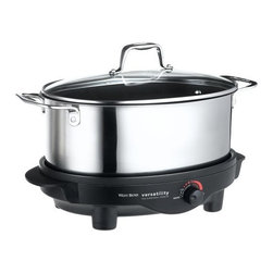 Focus Electrics - West Bend 6 Quart Versatility Slow Cooker - West Bend 6 Quart Versatility Slow Cooker Stainless Steel. The 6 Qt. removable cooking pot can be used as a serving dish and can be used on the stove top or in the oven it can also be stored in the refrigerator or freezer the base doubles as a light duty non-stick griddle adjustable temperature control lift out roasting rack glass lid and cooking pot are dishwasher safe heat resistant handles