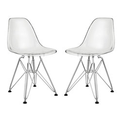 """Modway - Paris Kids Chair Set of 2 in Clear - Introduce your kids to mod while they explore the effects of gravity. Instead of being impressed by the chair's famously deep seat pocket and stylish design, kids will find it more compelling to try and balance themselves on as few legs as possible. The next generation knows why this chair was originally called the chair of """"tomorrow."""" Because it's boring to sit on stationary object that doesn't do anything."""