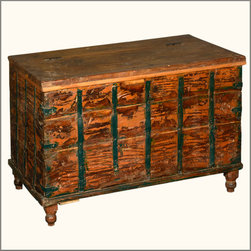 Reclaimed Wood Steamer Trunk Blanket Storage Chest Furniture - In days-gone-by solid hardwood standing chests were used as luggage on cross country and overseas trips.