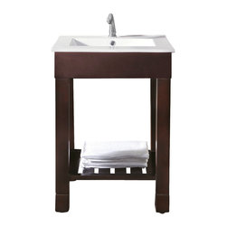 "Avanity - LOFT 24"" Vanity Only (Dark Walnut) - LOFT 24"" Vanity Only (Dark Walnut); Vanity only in dark walnut finish; Birch solid wood and birch veneer; Stainless steel towel bars; Open slatted shelf; Adjustable height levelers; Top, sink and faucet not included.; Dimensions: 24W x 21.5D x 34H inches"