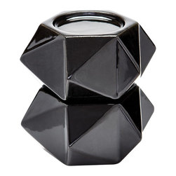 Lazy Susan - Lazy Susan Large Black Ceramic Star Candle Holders (Set of 2) - Handcrafted In Earthenware And Finished In A Metallic Glaze These Geometric Forms Are Based On Origami. Origami Is Now Considered A Modern Art Form After Being Popularized Outside Of Japan In The Mid-90'S. Originating in Japan in 1981 Lazy Susan is an innovative furniture and home accessories company. With a clean and simple design aesthetic the company is focused on creating curated eclectic home collections. Inventively mixing modern and traditional design elements every piece is unique and beautiful with a foundation in classic design styles. Each season Lazy Susan incorporates current trends with inviting color palettes to create beautiful collections that inspire and behold. During the design and development process they strive to create pieces that blend effortlessly with personal heirlooms arrange comfortably in collection groups as well as stand alone as room defining focal points. Their goal is to develop collections that compliment living spaces and express personal style. Artisans from around the globe are an integral part of bringing the Lazy Susan collections to life. Working with local craftsmen provides the unique opportunity to find and mix eco-friendly regional natural resources into the product collections. Uncommon materials pairings help create visually exciting and stimulating pieces with strong roots in the natural beauty of organics. Commitment to design excellence and creative originality has allowed Lazy Susan to build relationships with many of the hottest home accessory and furniture retailers across the United States. Premier domestic and international hotels resorts event designers and television programs come to Lazy Susan for distinctive pieces on the leading edge of style and trends. On November 1 2013 ELK GROUP International a premier designer and importer of lighting fixtures decorative accessories and furniture acquired Lazy Susan. Through a combination of