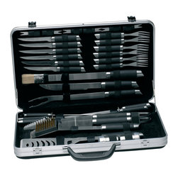 Berghoff - Berghoff Geminis BBQ Set in Case 33 pc. - Set includes: a salt cellar and pepper pot, 6 corncob hoders, 6 steak forks, 6 steak knives, a barbeque knife, grill scraper, small brush, stotted turner, meat fork, 6 skewers, tongs, and a carrying case. mattee finish with black soft grip. This set makes a great father's day, housewarming, birthday or holiday gift, Designed for indoor and outdoor use.  Perfect for hobby and professional cooking and packed in an elegant case.