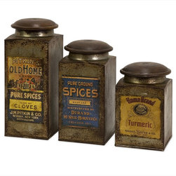 "Imax Worldwide Home - Addie Vintage Label Wood And Metal Canisters - Set of 3 - Set of three antiqued metal canisters each with a distinctive vintage label and a wooden lid.; Country of Origin: India; Weight: 1.6538 lbs; Dimensions: 6-9""h x 3.5""d"