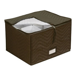 None - Quilted Brown Microfiber Wine Glass Storage Chest - This beautiful quilted cotton canvas stemware box will keep your wine glasses protected, while still providing easy access whenever the occasion arises. The inside is divided twelve separate glasses holders.