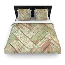"""Kess InHouse - Heidi Jennings """"Patina"""" Green Wood Fleece Duvet Cover (Queen, 88"""" x 88"""") - You can curate your bedroom and turn your down comforter, UP! You're about to dream and WAKE in color with this uber stylish focal point of your bedroom with this duvet cover! Crafted at the click of your mouse, this duvet cover is not only personal and inspiring but super soft. Created out of microfiber material that is delectable, our duvets are ultra comfortable and beyond soft. Get up on the right side of the bed, or the left, this duvet cover will look good from every angle."""