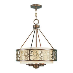 Joshua Marshal - Palacial Bronze With Gilded Accents Drum Shade Chandelier - Palacial Bronze With Gilded Accents Drum Shade Chandelier