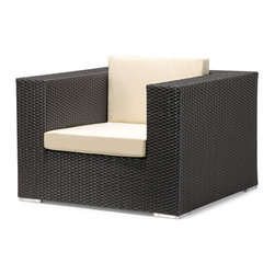 Zuo - Cartagena Outdoor Arm Chair - The Cartagena Outdoor Collection features a woven synthetic wrapped around an aluminum frame making all the pieces lightweight and easy to configure in your outdoor space.  The dark espresso color keeps the boxy profile chic and modern, while the synthetic, weaved pattern makes this collection extremely weather-resistant.  The light-colored cushions are included and make this collection cozy, while appearing structured with clean lines.  Whether you are enjoying the tranquility of nature alone or entertaining a house full of guests at your Labor Day bash, the Cartagena Outdoor Arm Chair is a perfect addition to host family, friends and neighbors.  The Cartagena Outdoor Collection features a sectional, loveseat, arm chair and coffee table.  Sold separately.