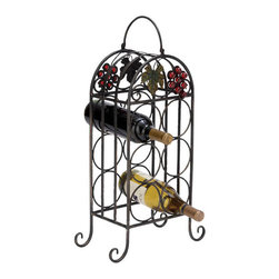 Benzara - Sheet Metal Wine Holder 23in.H, 12in.W - Size: 12 in. x6 in. x23 in.  Made with iron alloy