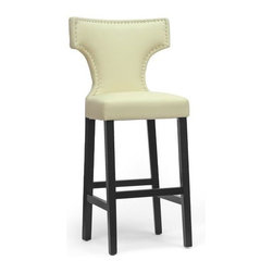 Baxton Studio - Bar Stool in Beige - Set of 2 - Set of 2. Contemporary style. Wooden frame with black lacquer base. Beautiful, soft and buttery faux leather seat. Polyurethane foam cushioning. Silver nail head trim. Wipe clean with damp cloth. Assembly required. Seat: 17.87 in. W x 15.75 in. D x 30.87 in. H. Overall: 21.37 in. W x 18.75 in. D x 45.75 in. H (25 lbs.)