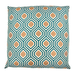Designer Fluff - 5 Pointz Teal Pillow, 12x20 - Embrace your multidimensional style with this classic hexagon-printed throw pillow. Elegant woven fabric in bold teal makes an unmistakable imprint in your home, making it the perfect addition.