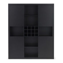 Zuri Furniture - Charlie Dark Oak Shelving - Need a lot of storage but don't want to sacrifice on style? The Charlie Shelving Unit is just want you need! With 4 corner doors you can hide what you need and can show off the rest!