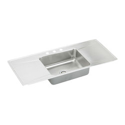 """Elkay - Elkay ILR5422DD2  Lustertone Sink-ette Gourmet Sink with Dual-Drainboards - Elkay's ILR5422DD2 is a Lustertone Sink-ette Gourmet Sink with Dual-Drainboards. This single-bowl sink is constructed of 18-gauge type 304 nickel-bearing stainless steel, and is self rimming. It features a 7-5/8"""" bowl depth and a 3-1/2"""" drain openings. This model also includes two 16"""" x 22"""" drainboard attached to either side of the sink."""