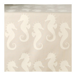 Wabisabi Green - Sassy Seahorse Eco Table Runner, Cream/Seagrass - Like some mythical hybrid creature, seahorses have one of the most charming shapes in nature. This hand-printed runner takes full advantage of their eccentric yet balanced design, giving you a fun, patterned table accent that stays subtle in its palette of light neutrals. Ecofriendly fabric and ink only add to its appeal.