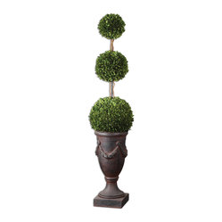 Uttermost - Triple Topiary Preserved Boxwood - Towering On Natural Dragon Willow Branches In An Aged Black Urn With Rust Brown Wash. Preserved While Freshly Picked, Natural Evergreen Foliage Looks And Feels Like Living Boxwood. Bulbs Included: No