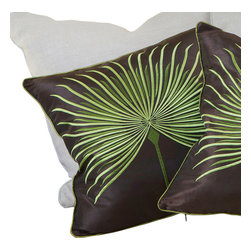 """Great Deal Furniture - 18"""" Brown Light Green Embroidered Pillows (Set of 2) - Add contemporary design to your seating areas with our decorative pillow sets. Featuring a linen blend cover, you'll find these pillows stylish and comfortable."""