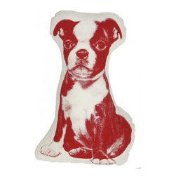 Fauna - Hand-Printed Terrier Mini Pillow, Crimson on Natural - With his wide eyes and soulful expression, this sepia-toned terrier is a total charmer. He's printed on 100 percent cotton broadcloth, and you can't call him naughty for being on the couch.