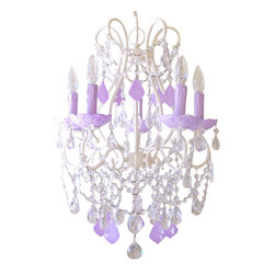"5 Light Beaded Chandelier with Lavender Crystals - This spectacular vintage-inspired 5-light chandelier has been painted a beautiful antique white and adorned with stunning Milky-Opal Lavender French pendants and matching fancy-cut glass bobeches. Plenty of crystal teardrops and layers of crystal chain swags add loads of glam and sparkle. What a creative way to bring a touch of lavender into a room: fresh, exciting, unique and all together decadent! The chandelier measures 17"" wide across the arms and 23"" long down to the sparkly crystal ball. The chandelier will come ready to hang with a matching ceiling canopy and a 22"" long painted chain."