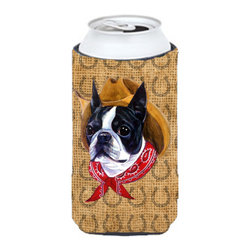 Caroline's Treasures - Boston Terrier Dog Country Lucky Horseshoe Tall Boy Koozie Hugger - Boston Terrier Dog Country Lucky Horseshoe Tall Boy Koozie Hugger Fits 22 oz. to 24 oz. cans or pint bottles. Great collapsible koozie for Energy Drinks or large Iced Tea beverages. Great to keep track of your beverage and add a bit of flair to a gathering. Match with one of the insulated coolers or coasters for a nice gift pack. Wash the hugger in your dishwasher or clothes washer. Design will not come off.
