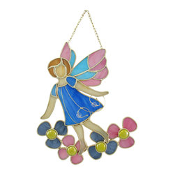 Zeckos - Stained Glass Garden Fairy  Wall Plaque with Flowers - This colorful stained glass wall plaque features an adorable fairy traipsing through a flower garden. It measures 9 1/2 inches tall, 8 inches wide, 1 inch deep and is crafted from beautiful pieces of colored glass. Display alone or in a group, on the wall or as suncatchers. NOTE: Suction cup not included.