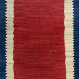 "ALRUG - Handmade Red/Rust Oriental Kilim  6' 9"" x 9' 11"" (ft) - This Afghan Kilim design rug is hand-knotted with Wool on Wool."