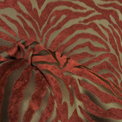 Serengeti Cinnamon Animal Print Chenille Fabric By The Yard - Beautiful zebra pattern upholstery fabric in a deep red or cinnamon color. This fabric can also be used as a curtain fabric, on pillows or bedding or make a table skirt. Very cute pattern, would add style and a designer look to any room in your home. The pattern is a raised chenille that's very soft.