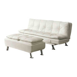 Adarn Inc - Metal Leg Faux Leather Sofa Bed Futon, White, Include Ottoman - Bring a fun and inviting aura into your home with this contemporary styled futon sleeper sofa. Designed to be a sofa as well as a bed, this living room furniture piece features smooth upholstery with a plush pillow-top seating comfort. Chrome finished legs add a decorative design element that gives this sofa a unique modern look. When it comes time to accommodate sleep-over guests, merely fold down the seat back and curved seat arms to create a bed with a soft sofa comfort. A comfortable, casual and contemporary piece, this sofa suits living rooms, family rooms, apartments and even dorms.