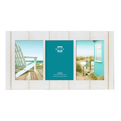 Prinz - Seaside White Wash 3 Picture Collage Frame (5x7) - Natural pine wood, hand distressed finish, two-way easel, wall hangers.