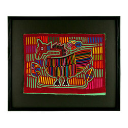"Salvatecture Studio - Vintage Framed Panama Kuna Mola ""Goose"" Wall Art - Who needs a goose that lays golden eggs when you can have a multicolored one instead? Add some artistic color to your walls with this framed vintage mola. Handcrafted by Panamanian Kuna women, it showcases a reverse appliqué technique that can incorporate up to seven layers of fabric."