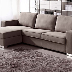 Zuri Furniture - Brown Chloe Sleeper Sectional - Left Chaise - Have a lot of guests but not a large space? Don't worry Chloe is just what you need, with it's pull out sofa bed and storage chaise, you'll be ready for any situation!