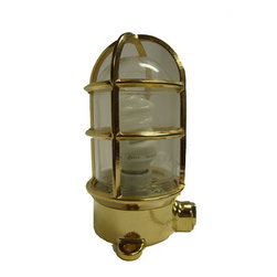 "Brass Oceanic Lamp - The brass oceanic lamp measures 3.5"" x 5.25"" x 7.75"". This lamp is made of solid polished brass. It comes assembled and just needs to be mounted. This lamp is electric and simply needs to be plugged in to turn it on. A light bulb is included. The recommended wattage for the bulb is between 60 - 100 watts. It will add a definite nautical touch to wherever it is placed and is a must have for those who appreciate high quality nautical decor. It make a great gift, impressive decoration and will be admired by all those who love the sea."