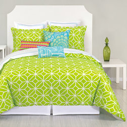 Trina Turk - Trina Turk Trellis Lime 3 Piece Comforter Set - The Trellis comforter set's geometric pattern elicits lively spirit. A vibrant Trina Turk design, this bedding's angular print excites with intersecting diamonds in vivid lime green and white. Available in queen and king; 3-piece set includes comforter and 2 pillow shams; 100% cotton; Inserts not included; Dry clean only