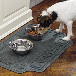 Frontgate - WATER & DIRT SHIELD ™ Personalized Pet Mat - Front is made of extremely durable, 28-oz. nylon. Rubber backing contains 25% recycled material. For indoor or outdoor use. Personalize with up to 9 uppercase letters for free. Our WATER & DIRT SHIELD ™ Personalized Pet Mat will resist mildew, shedding, and fading for years. This mat is large enough to hold all sizes of pet feeding dishes. . . . . Please note, personalized items are nonreturnable.