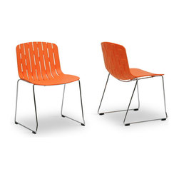 Wholesale Interiors - Ximena Orange Plastic Modern Dining Chair, Set of 2 - The lively spirit of our Ximena Contemporary dining chair is unapologetically contagious! Inject your home with the chic, minimalist character of this orange hard molded plastic stackable dining chair, which can be conveniently stored away in a corner or a closet. Chrome-plated steel serves as a stylish yet sturdy base and is finished off with black plastic non-marking feet. Easily and quickly clean up messes by wiping the chair with a damp cloth. This set of two dining chairs comes packaged in a cardboard carton and is fully assembled. Also available is the Ximena dining chair in white as well as the similar Florissa dining chair in black or red (sold separately).