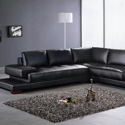 """Hokku Designs - Ruby 2 Piece Leather Sectional Sofa Set in Black - This sleek 2-piece sectional has all blended leather seating with matching faux leather backs and sides. This Black sectional offers the seating options you need with amazing style. Features: -2 Piece sectional sofa set. -Ruby collection. -Material: Leather. -Color: Black. - Frame: Hardwood. -Left Arm facing dimensions: 32"""" H x 38"""" D x 85"""" L. -Right arm facing chaise dimensions: 32"""" H x 38"""" D x 95"""" L ."""