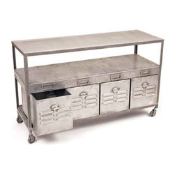 Go Home - Go Home Mill House Table - This steel mill house table comes from the elite French country chic furniture collection. It features a flat top, a rack and a four drawer bottom. This product will help you store different items of kitchenware.