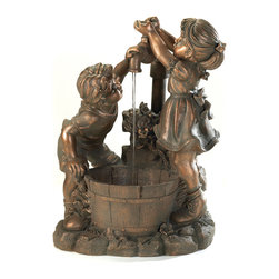 KOOLEKOO - Outdoor Fun And Play Water Fountain - Whats more refreshing than a cool drink on a hot day? Beautiful bronze-look fountain shows two children at innocent play in the garden. Weathered finish adds instant antique appeal! Outdoor use only.