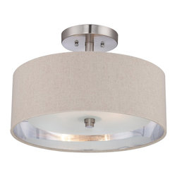 Quoizel - Quoizel CKMO1716BN Metro Semi-flush Mount Ceiling Light - With a name like Metro, it has to be sophisticated and elegant.  A brushed nickel finish and simple details enhance the beauty of this collection.  The shades are fabric and feature a silver liner to enhance the amount of light emitted while the etched glass inner shade diffuses the light to avoid glare.