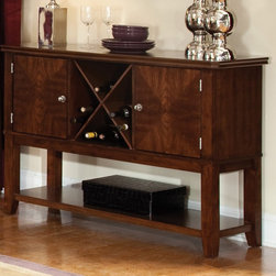 Standard Furniture - Standard Furniture Regency 52 Inch Sideboard in Sienna Brown - Regency features unique simplicity coupled with an updated design blend making it the perfect complement to your home. Quality veneers over wood products and select used throughout. Group may contain some plastic parts. Aged vintage Sienna brown color finish. Surfaces clean easily with a soft cloth.
