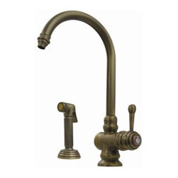 Whitehaus Collection - Polished Chrome Whitehaus WH17666 Single Hole Lever Handle Kitchen Faucet with S - Evolution colonial style single lever mixer with gooseneck swivel spout and fluted solid brass side spray